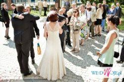 Rertro suknia ślubna, koronkowa, rozmiar 38