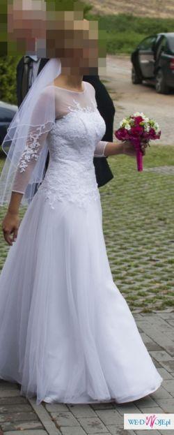 *Romantyczna i elegancka suknia ślubna* koronka* tiul* 36/38