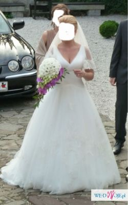 romantyczna suknia ślubna Herms + koronkowy welon-gratis!!!!