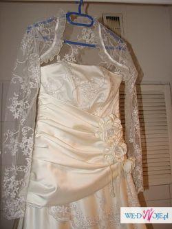 Satynowo-koronkowa suknia ślubna 600 ZŁ!!!