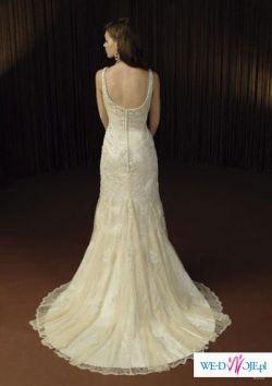 Seksowna suknia ślubna JUSTIN ALEXANDER z kryształkami i perłami R. 36