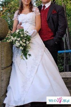 skromna śliczna suknia ślubna rozmiar 40(95-74-102)+welon
