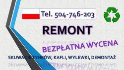 Skucie płytek w łazience, cena. tel. 504-746-203. Skuwanie betonu, remont łazienki. Wrocław.