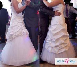 Śliczna asymetryczna suknia ślubna + dodatki