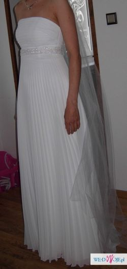 Śliczna biała plisowana suknia-  kolekcja Agnes r.36!