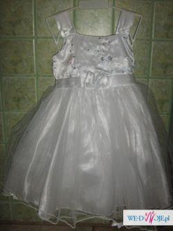 Śliczna biała suknia dla dziewczynki- zobacz
