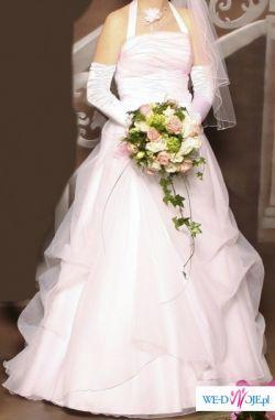 śliczna,biała suknia ślubna z różowym akcentem