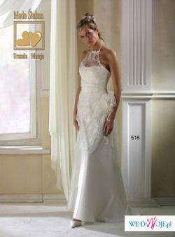 Śliczna biała suknia z koronką wiązaną na szyi