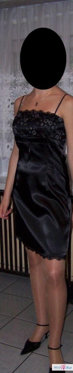 Śliczna Czarna Wieczorowa Sukienka!! POLECAM