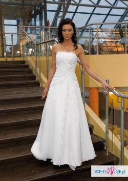 śliczna, elegancka suknia ślubna - śnieżnobiała