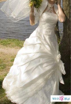 Śliczna i wygodna suknia ślubna ecru Sposabella