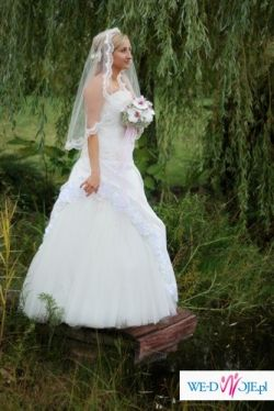 śliczna jednoczęściowa suknia ślubna, rozmiar 40/42, HALKA+GORSET GRATIS !!!