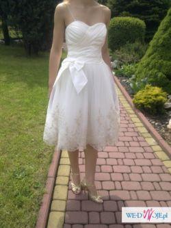 Śliczna krótka sukienka Slubna