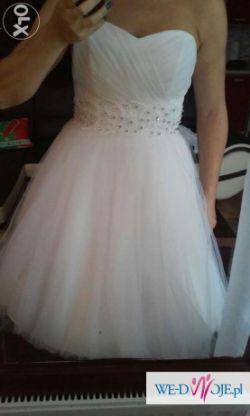 śliczna, krótka sukienka ślubna + bolerko z koronki