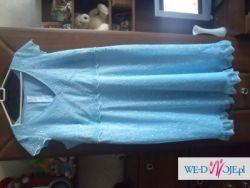 śliczna ,niebieska , duża sukienka roz 50 /52