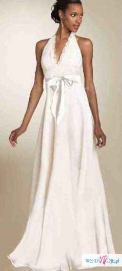 Śliczna NOWA suknia ślubna biała 42/44, wyszczuplający fason!