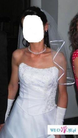 Śliczna śnieżnobiała suknia ślubna - rozm.38
