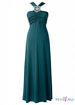 Śliczna sukienka w kolorze petrol