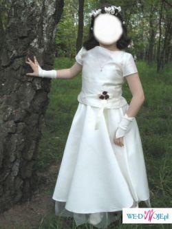 Śliczną sukienkę komunijną wraz z dodatkami (wianek, rękawiczki, torebka)