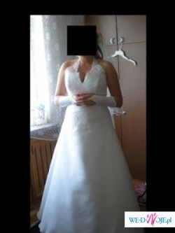 śliczna suknia, prosty fason, wyszczupla, rozm.40
