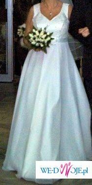 śliczna suknia ślubna dla pań w ciąży i nie tylko w styl empire