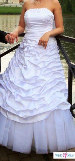 Śliczna suknia ślubna + dodatki r. 38