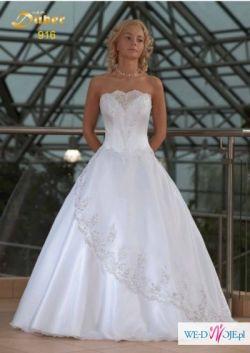 Śliczna suknia ślubna DUBER + bolerko GRATIS