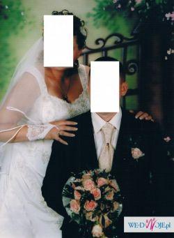 Śliczna suknia ślubna, ecru, 46-48