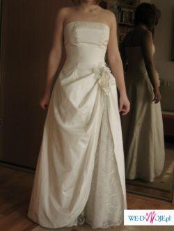 Śliczna suknia ślubna!!! OKAZJA! ecru, rozm.38