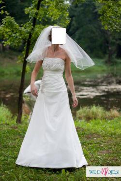 Śliczna suknia ślubna rozm. 38, kolor ecru