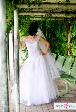 Śliczna suknia ślubna typu księżniczka rozm. 38