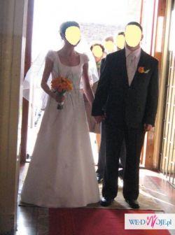 śliczna suknia ślubna z dodatkami  tanio