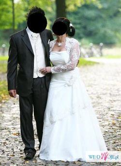 Śliczna suknia ślubna z koronkowym bolerkiem + NOWY WELON GRATIS !!!