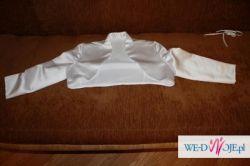 Śliczna suknia ślubna z satyny-bolerko i welon GRATIS!!!