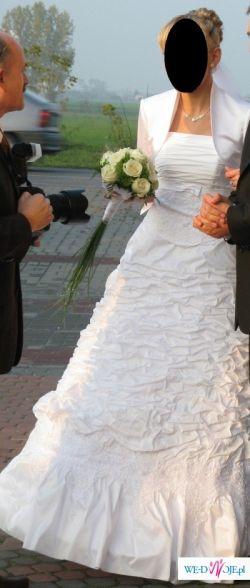 Śliczna suknia ślubnaz tafty rozm.38 -tanio:))))+dodatki