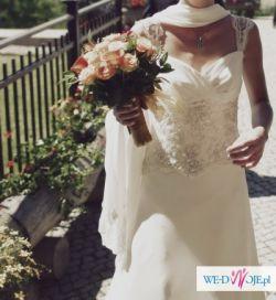 Śliczna zwiewna suknia ślubna z jedwabnego szyfonu