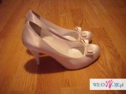 sliczne biale satynowe buty slubne