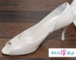 Śliczne buty ślubne, Arte di Roma, ecru, rozmiar 36,5