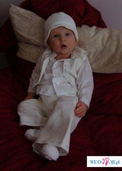 śliczne ubranko do chrztu dla chłopca r.74 ABRAKADABRA