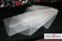 Śliczny biały welon z kryształkami