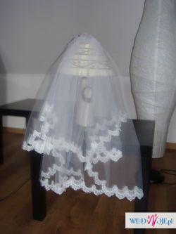 Śliczny koronkowy WELON+komplet ślubny-gratis