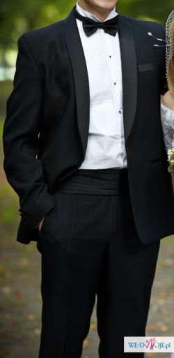 Ślubny smoking Pioba na 187 cm + koszula + muszka