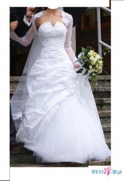Śnieżnobiała suknia ślubna Classa C-614 i C-628