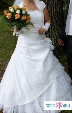 Śnieżnobiała suknia ślubna! TANIO