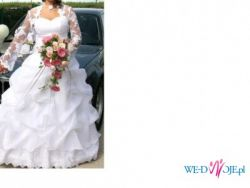 Śnieżnobiała suknia ślubna z modnym bolerkiem!!TANIO!!