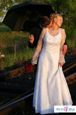 sprzedam białą, dwuczęściową suknię ślubną