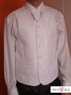 Sprzedam białą kamizelkę ślubną z krawatem i butonierką
