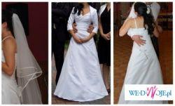 Sprzedam białą, satynową suknię ślubną, z regulowanym tyłem, GRATIS WELON!!!!