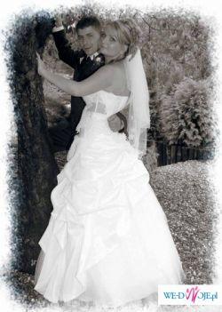 Sprzedam białą suknie ślubną 2-częściową.rozmiar 38(gorset sznurowany).