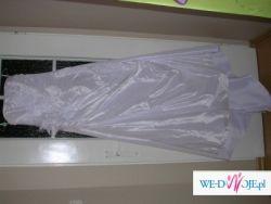 Sprzedam białą suknię ślubną z tafty